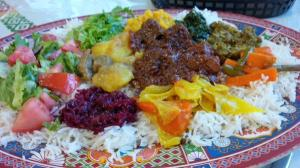 A mixed platter at the Zehabesha restaurant in Yellowknife. (PHOTO BY JANE GEORGE)