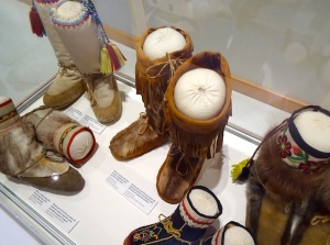 A display of northern footwear at the Prince of Wales Norther Heritage Centre. (PHOTO BY JANE GEORGE)