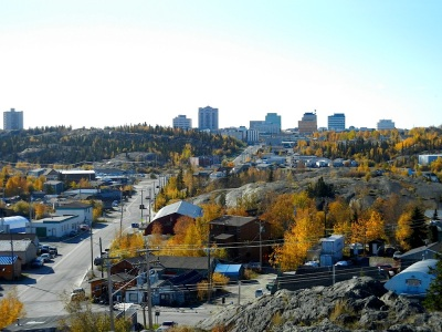 Yellowknife, lots of people, buildings and no national newspapers. (PHOTO BY JANE GEORGE)