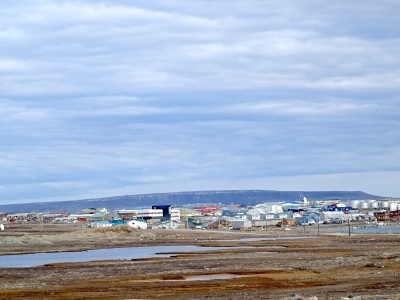 This is how Cambridge Bay, population 2,000, looked in mid-September, with Mt. Pelly, 20 kilometres away, peering from behind. (PHOTO BY JANE GEORGE)